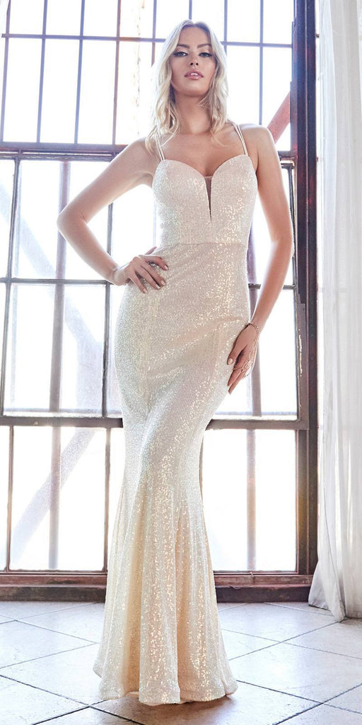 Cinderella Divine CH209 Long Fitted Sequin Gown Opal-Champagne Deep Sweetheart Neckline Criss Cross Back