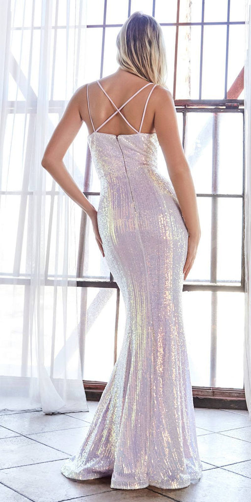 Cinderella Divine CH209 Long Fitted Sequin Gown Opal-Lilac Deep Sweetheart Neckline Criss Cross Back