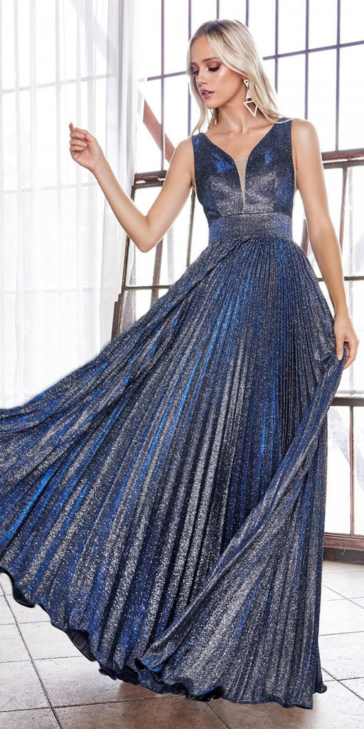 Navy Blue Pleated Glitter Long Prom Dress V-Neck