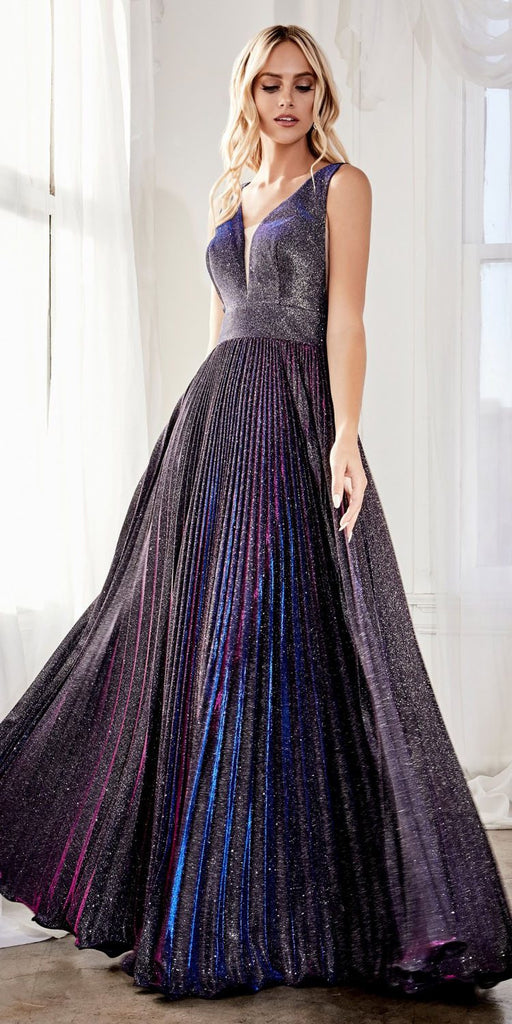 Purple Pleated Glitter Long Prom Dress V-Neck