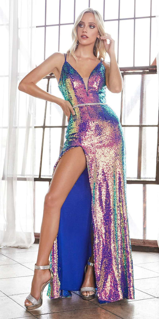 Cinderella Divine CH218 Long Slim Fit Sexy Sequin Gown Opal Royal Beaded Belt Lace Up Back