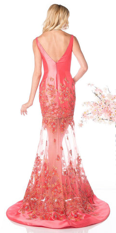 Cinderella Divine CH22 Coral Satin V-Neck Sheer Skirt Mermaid Prom Gown
