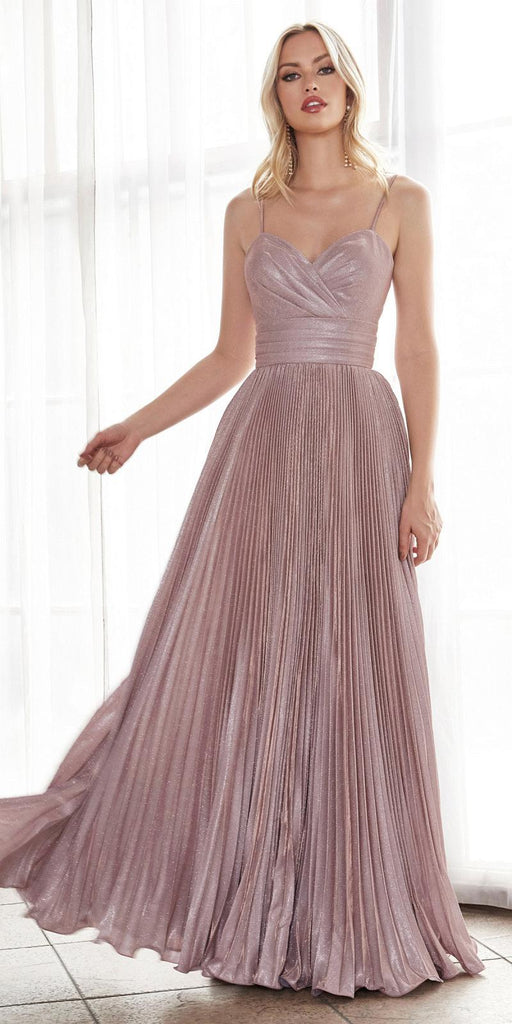 Cinderella Divine CH221 Long A-Line Pleated Dress Metallic Blush Glitter Finish Sweetheart Neckline