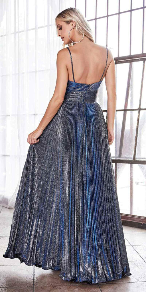 Cinderella Divine CH221 Long A-Line Pleated Dress Metallic Navy Blue Glitter Finish Sweetheart Neckline