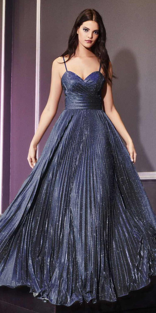 Long Pleated A-Line Dress Metallic Navy Glitter Spaghetti Straps
