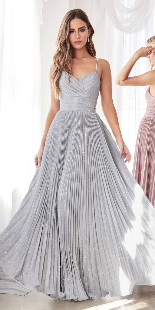 Cinderella Divine CH221 Long A-Line Pleated Dress Metallic Silver Glitter Finish Sweetheart Neckline