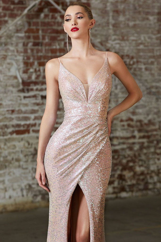 Cinderella Divine CH222 Long Slim Fit Sequin Gown Opal Blush Gathered Waist Pleated V-Neckline