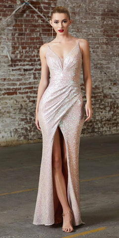 Fitted Glitter Sparkle Ruched Gown Light Silver With Leg Slit And V-Neckline