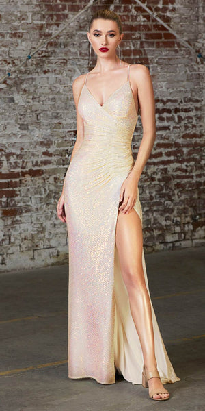 Cinderella Divine CH226 Long Fitted Sequin Gown Opal Champagne Gathered Waistline Lace Up Back