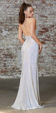 Cinderella Divine CH226 Long Fitted Sequin Gown Opal Silver Gathered Waistline Lace Up Back