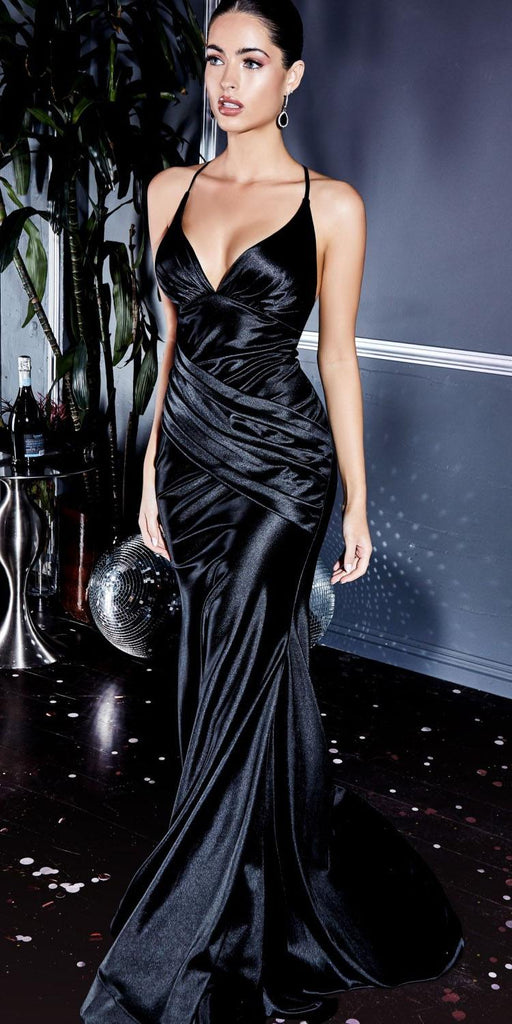 Cinderella Divine CH236 Floor Length Fitted Stretch Satin Gown Black Gathered Waistband