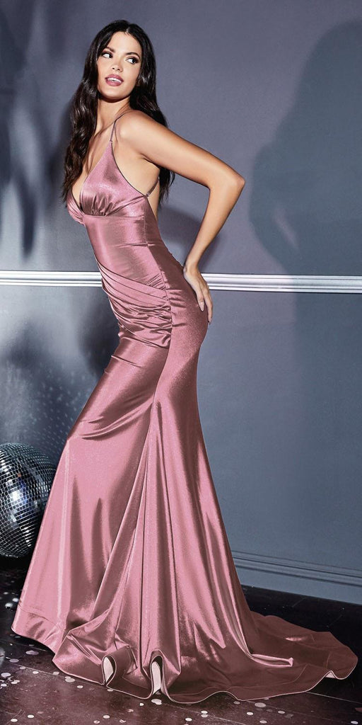 Cinderella Divine CH236 Floor Length Fitted Stretch Satin Gown Dusty Rose Gathered Waistband