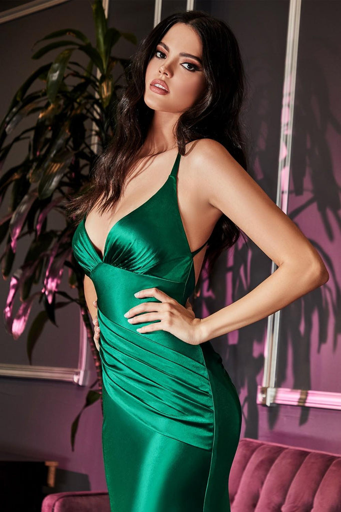 Floor Length Fitted Stretch Satin Gown Emerald Gathered Waistband