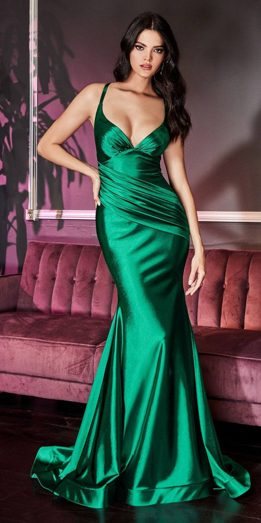 Long Sheath Stretch Satin Gown Emerald Pleated Waistband