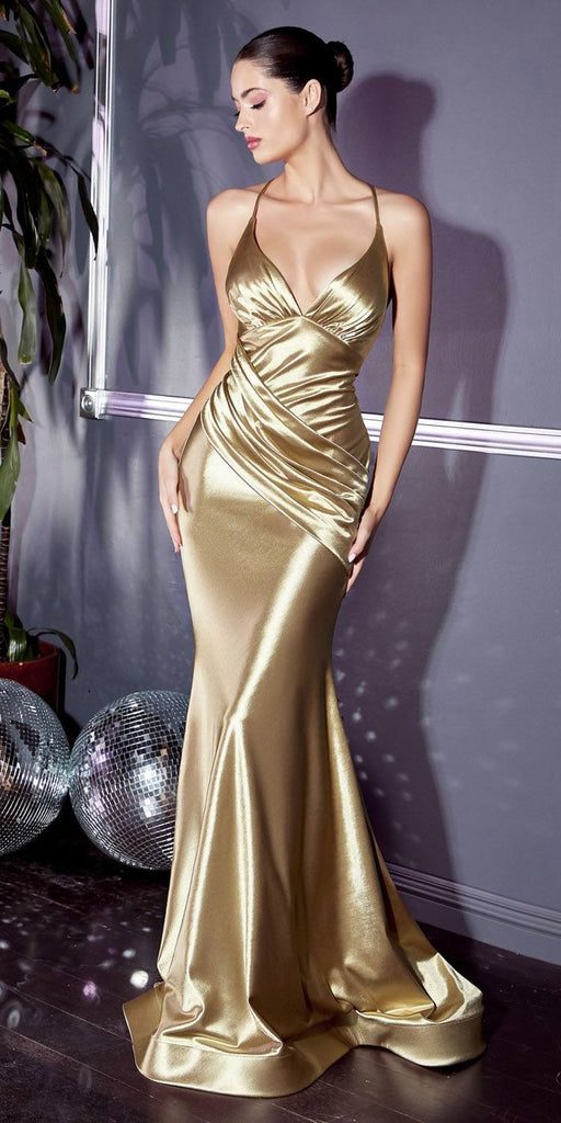 Cinderella Divine CH236 Floor Length Fitted Stretch Satin Gown Gold Gathered Waistband