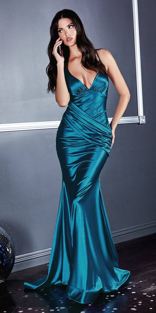 Cinderella Divine CH236 Floor Length Fitted Stretch Satin Gown Peacock Gathered Waistband