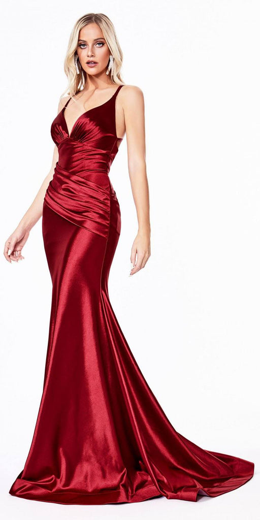 Cinderella Divine CH236 Floor Length Fitted Stretch Satin Gown Red Gathered Waistband