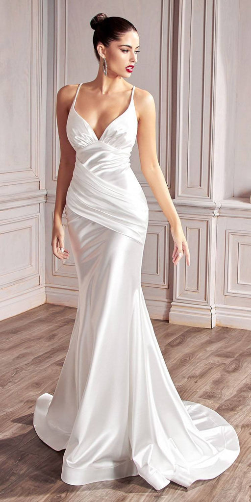 Cinderella Divine CH236 Floor Length Fitted Stretch Satin Gown White Gathered Waistband