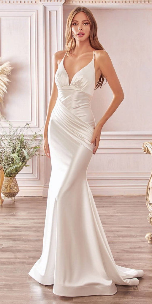 Cinderella Divine CH236 Floor Length Sheath Stretch Satin Wedding Gown Off White Pleated Waistband