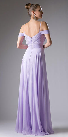 Cinderella Divine CJ241 Sweetheart Neck Cold Shoulder Long Bridesmaids Dress Lilac