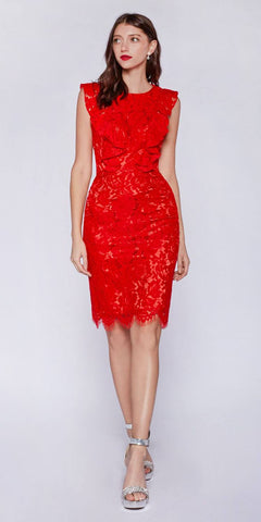Red Ruffled Sleeves Short Bridesmaids Sheath Dress