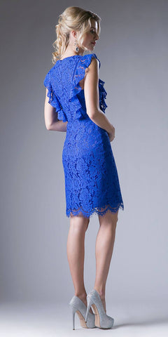 Royal Blue Ruffled Sleeves Short Bridesmaids Sheath Dress