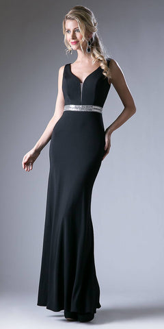 Black Sweetheart Neckline Long Fitted Sheath Formal Dress V-Shape Back