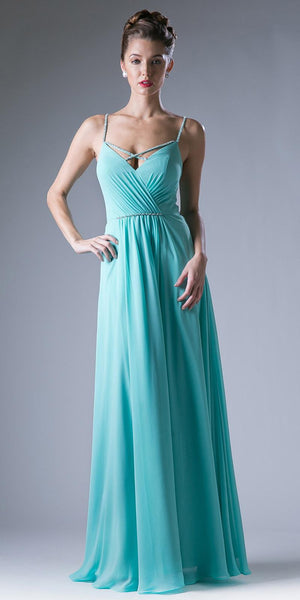 Plunging V-Neck Strappy Bodice A-Line Long Formal Dress Mint