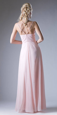 Plunging V-Neck Strappy Bodice A-Line Long Formal Dress Peach