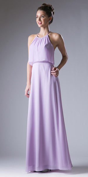 Lilac Embellished Waist Halter Bridesmaids Dress Open Back