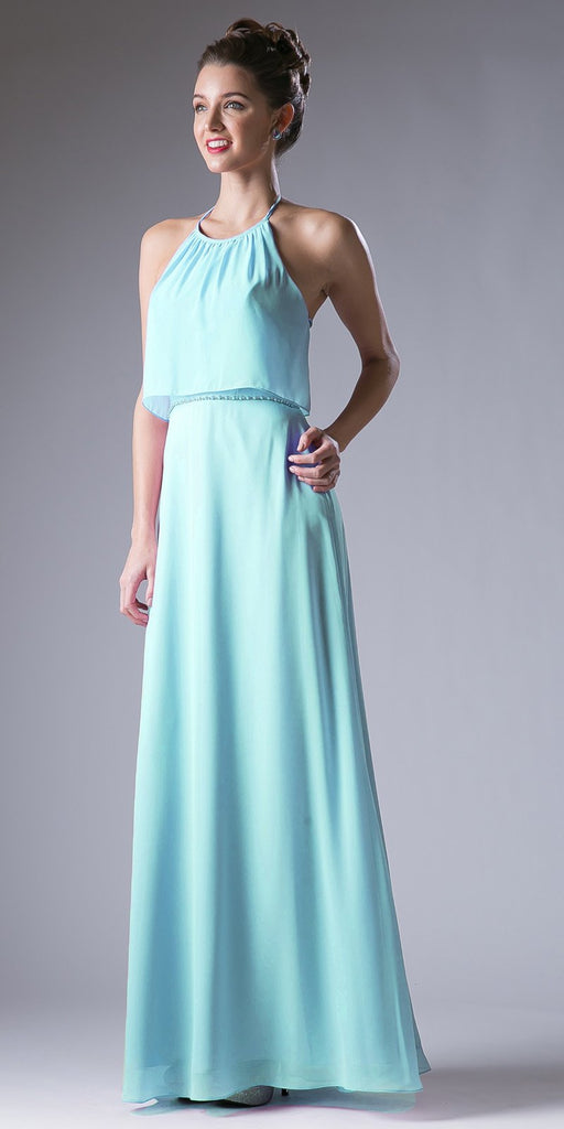 Mint Embellished Waist Halter Bridesmaids Dress Open Back