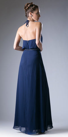Navy Blue Embellished Waist Halter Bridesmaids Dress Open Back