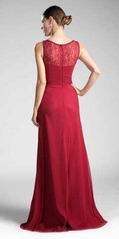 Long Formal Evening Dress Burgundy Sleeveless Lace Bateau Neckline