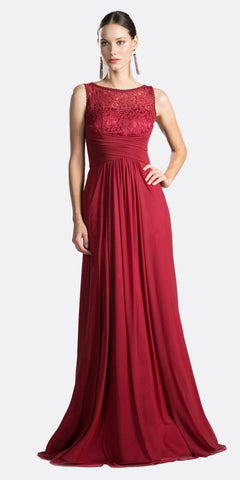 Cinderella Divine CH525 Long Formal Evening Dress Burgundy Sleeveless Lace Bateau Neckline