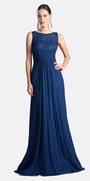 Cinderella Divine CH525 Long Formal Evening Dress Navy Sleeveless Lace Bateau Neckline