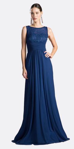 Off-Shoulder Long Sleeved Lace Formal Dress Navy Blue