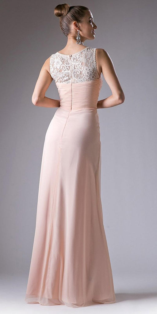 Cinderella Divine CH525 Long Formal Evening Dress Peach Sleeveless Lace Bateau Neckline