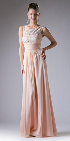 2c87104debb53 Cinderella Divine CH525 Long Formal Evening Dress Peach Sleeveless Lace  Bateau Neckline