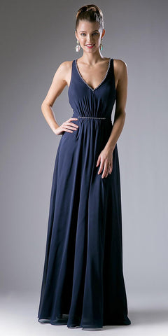 V-Neckline Floor Length Formal Dress Strappy Back Navy Blue