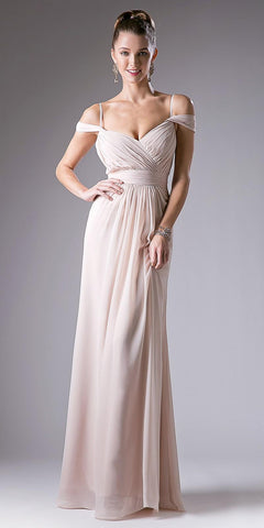 Champagne Cold Shoulder Pleated Bodice Long Formal Dress V-Back