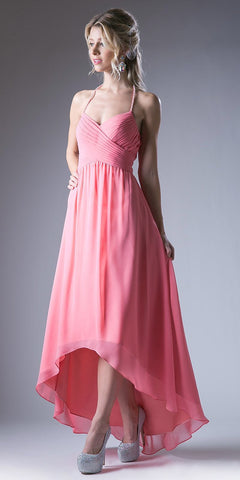 High Low Semi Formal Dress Pleated Bodice Empire Waist Coral