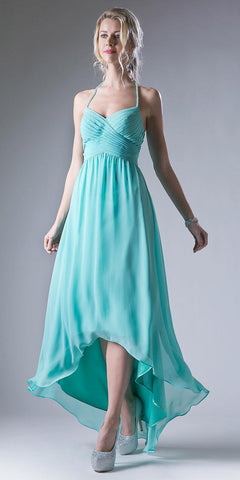 High Low Semi Formal Dress Pleated Bodice Empire Waist Mint