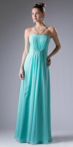Mint Green Embellished Spaghetti Strap A-Line Full Length Formal Dress