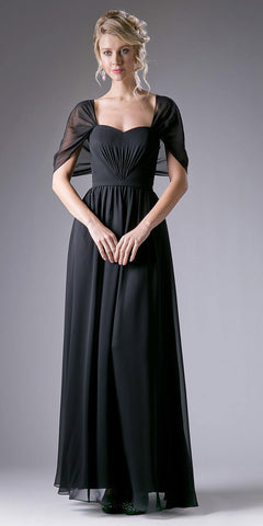 Sweetheart Neck A-Line Full Length Formal Dress with Sleeves Black