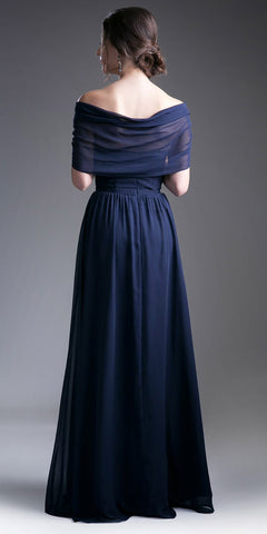 Sweetheart Neck A-Line Full Length Formal Dress with Sleeves Navy