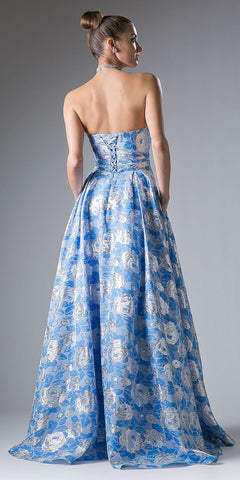 Blue Floral Print Long Prom Dress Sweetheart Neckline Strapless