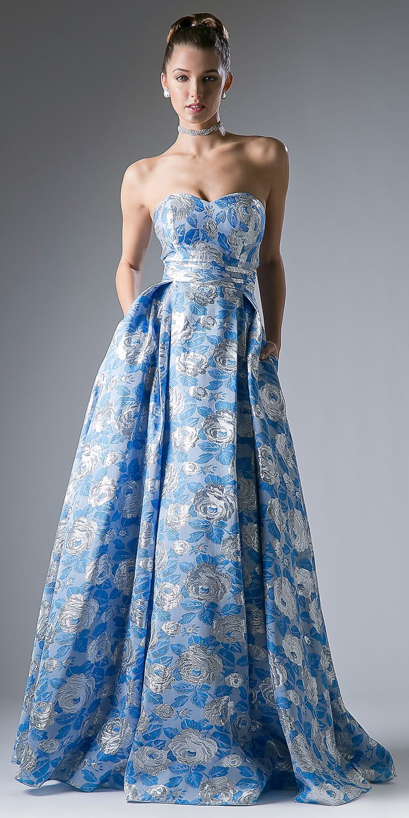 3fb216974b Blue Floral Print Long Prom Dress Sweetheart Neckline Strapless. Tap to  expand