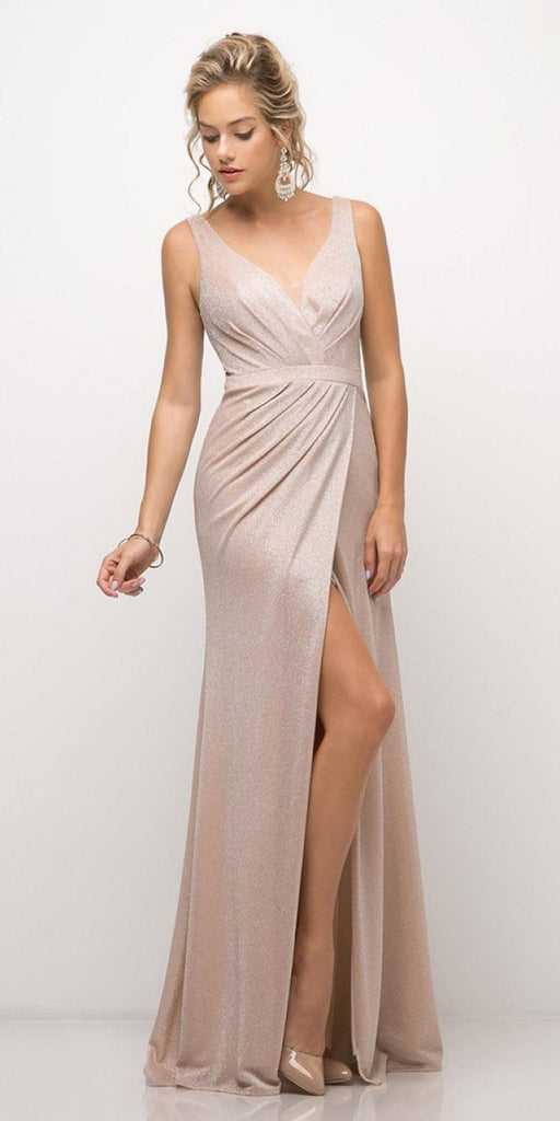 Ruched V-Neck Evening Gown with Front Slit Royal Blush
