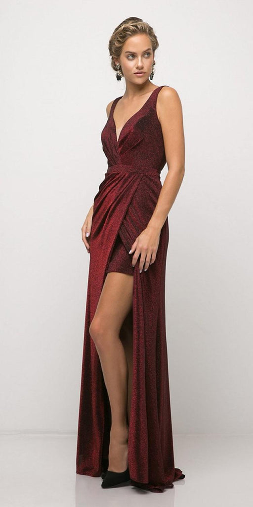 Ruched V-Neck Evening Gown with Front Slit Royal Burgundy