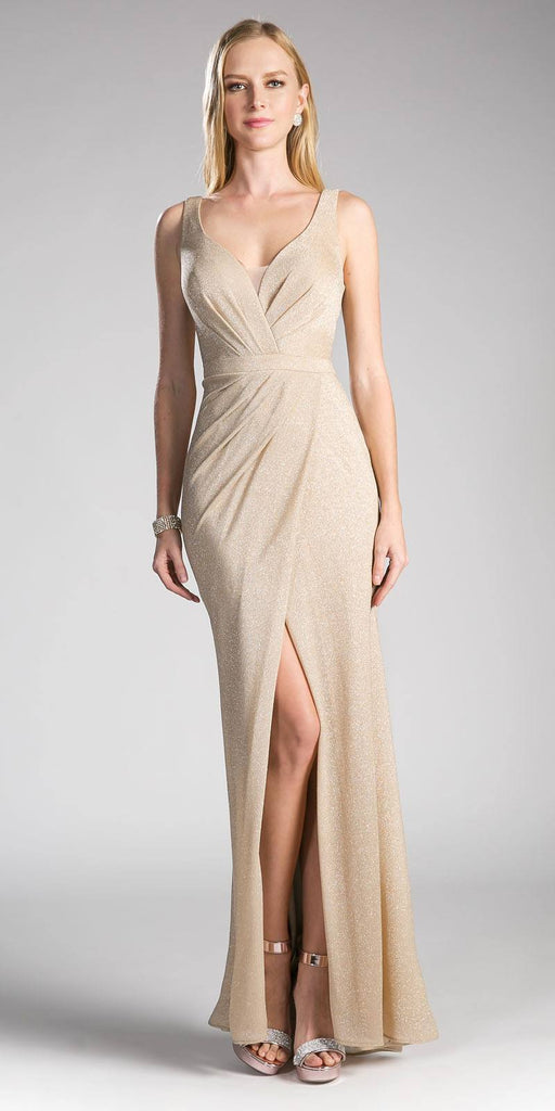 Ruched V-Neck Evening Gown with Front Slit Champagne